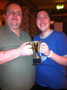 Richard Leach winning the Annual Celebrity Mystery Challenge - with Gemma Crader