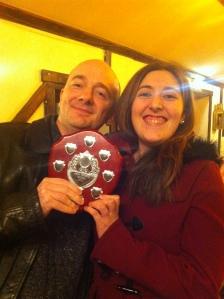 Joe Gurney (l) receives the Adrian Pembroke Memorial Shield from Gemma