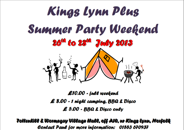 Flyer for the Kings Lynn Plus Summer Party Weekend