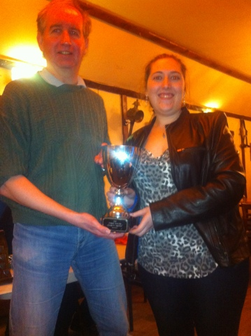 Our chair, Gemma Crader (r) with Trevor Eley of Redbridge - the other joint winners of the Charity Trophy.