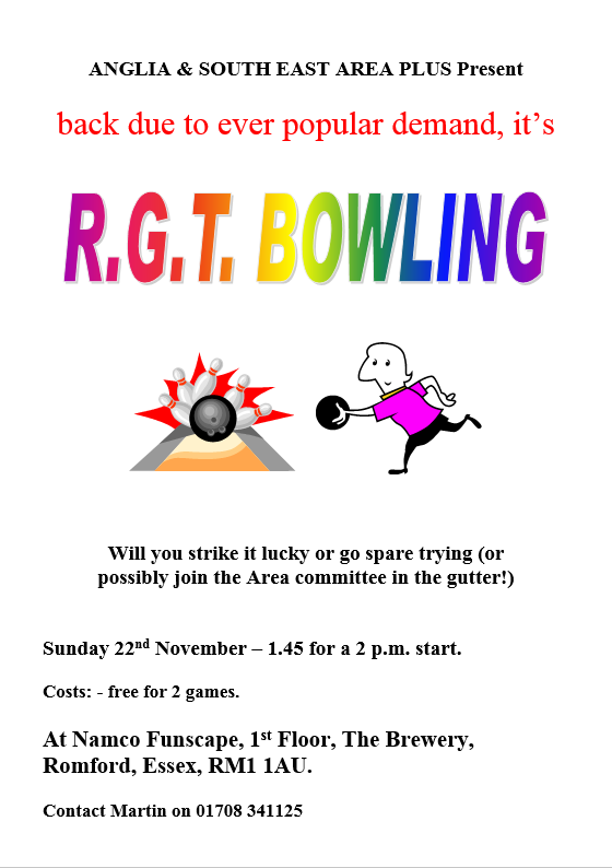 Poster for the RGT Bowling Tournament, Sunday 22nd November 2015, at NAMCO, Romford.