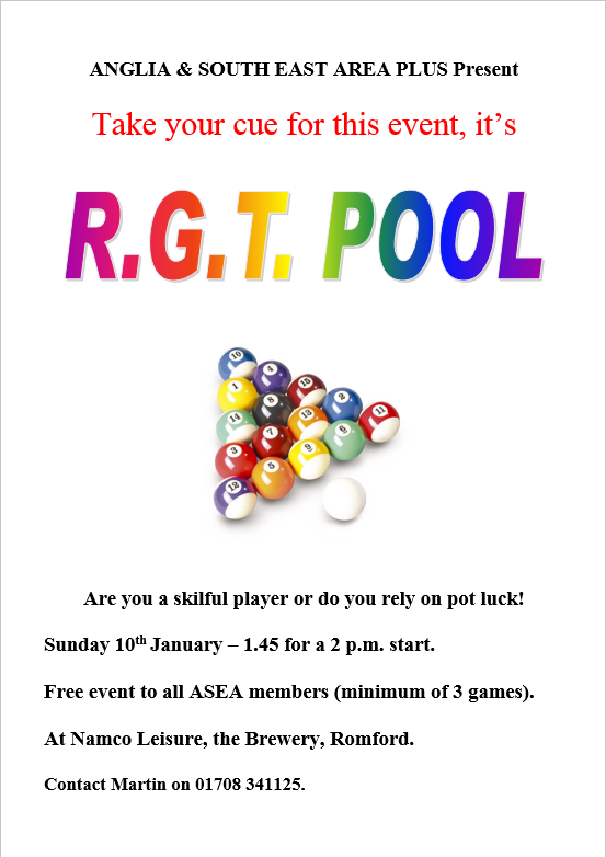 Poster for the RGT Pool Competition, 1.45 for 2pm start at NAMCO Romford, Sunday 10th January 2015
