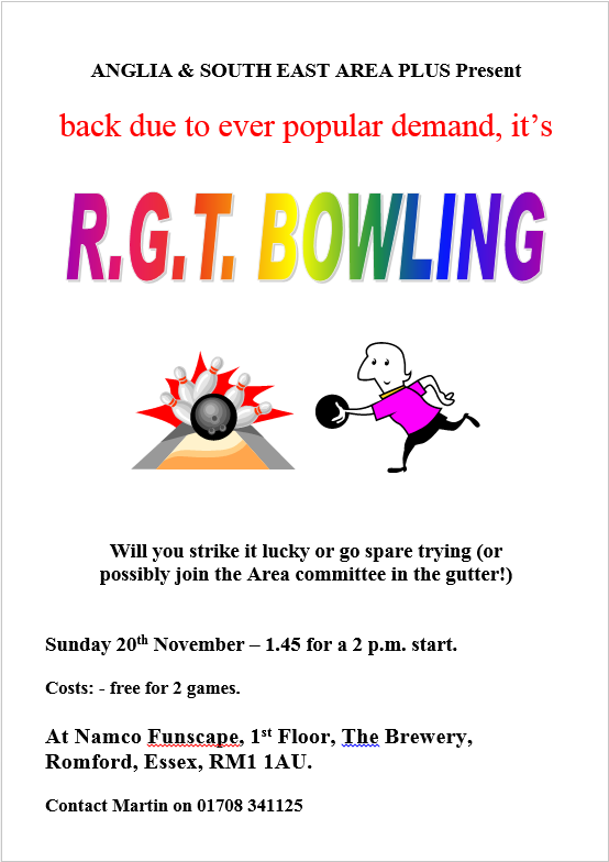 "Roy Gordon Trophy (""RGT"") Bowling Tournament, 20/11/16, at NAMCO Funscape Romford - 1.45 for 2pm start"